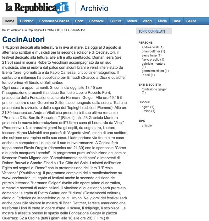 CecinAutori, 2 agosto 2014
