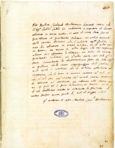La lettera autografa di Roberto Bellarmino che scagiona Galileo Galilei dall'accusa di eresia